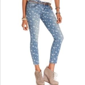 Free people ditsy floral ankle crop jeans